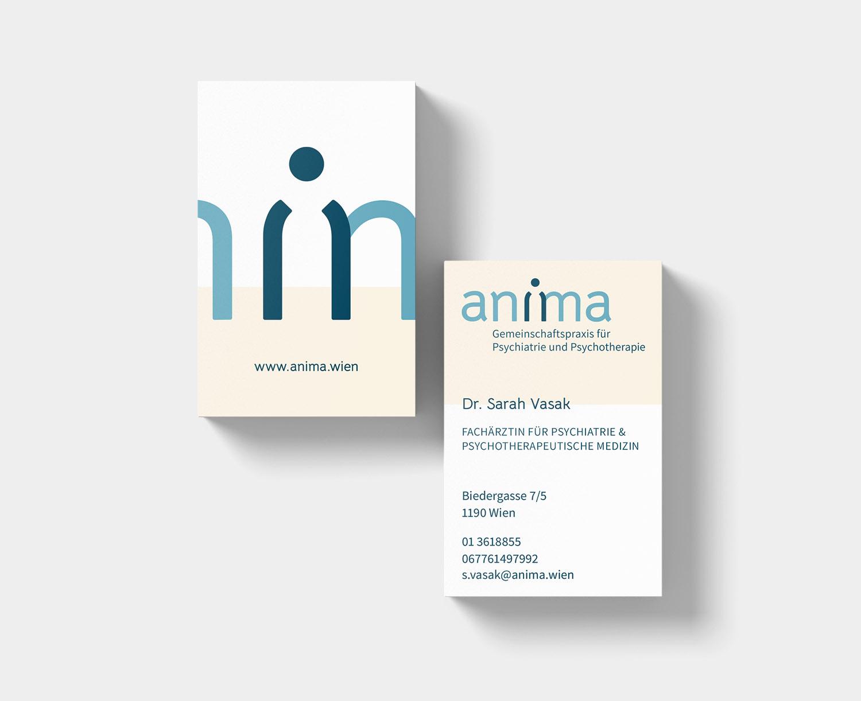 Visitenkartendesign für die Gemeinschaftspraxis anima